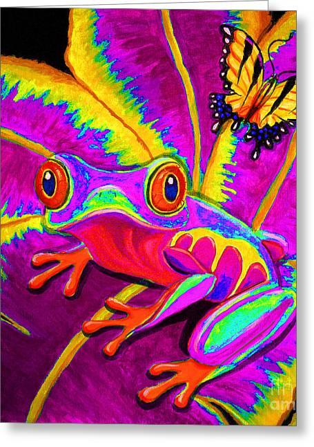 Amphibians Digital Art Greeting Cards - Rainbow Red Eyed Tree Frog Greeting Card by Nick Gustafson
