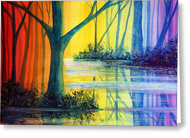 Kinkade Greeting Cards - Rainbow Reflections Greeting Card by Ann Marie Bone