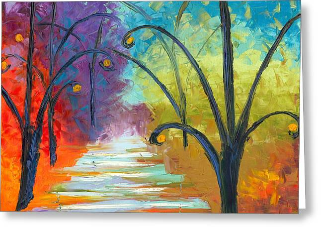 Jessilyn Park Greeting Cards - Rainbow Road Greeting Card by Jessilyn Park