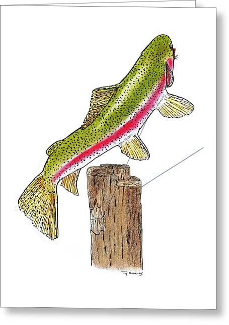 Rainbow Trout Drawings Greeting Cards - Rainbow Rodeo Greeting Card by Tim Shoales