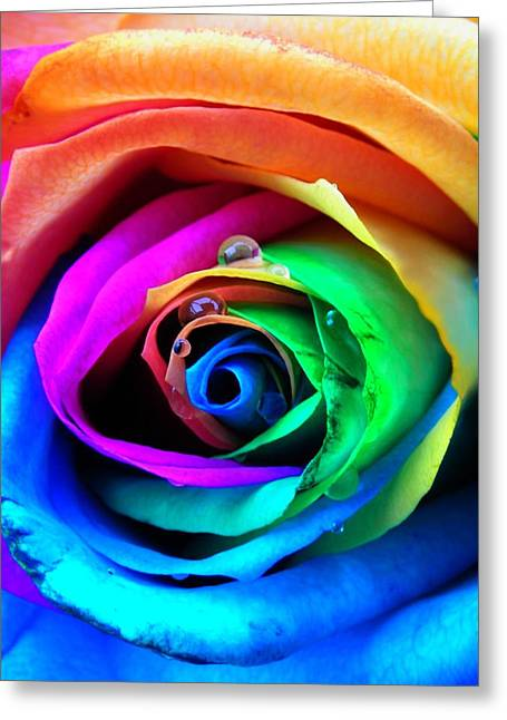Raindrop Greeting Cards - Rainbow Rose Greeting Card by Juergen Weiss