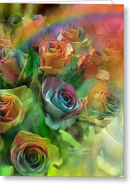 Rainbow Roses Greeting Card by Carol Cavalaris