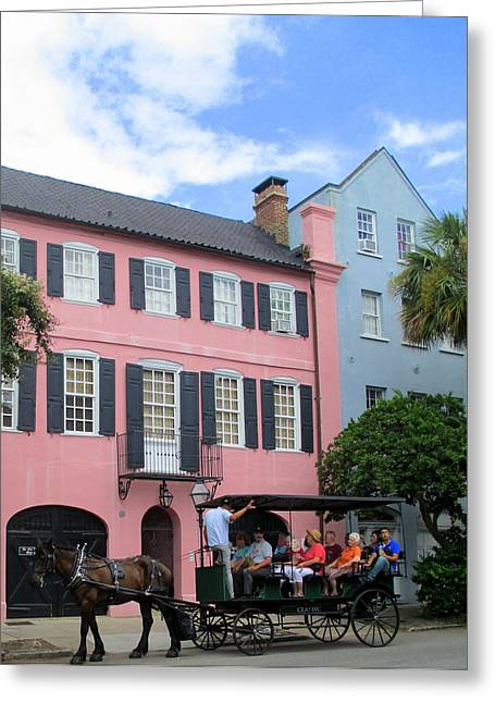 Rainbow Row Greeting Cards - Rainbow Row Charleston Greeting Card by Randall Weidner