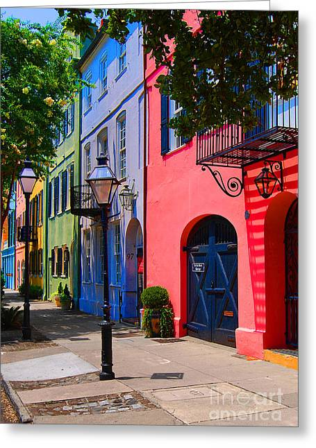 Scenic View Greeting Cards - Rainbow Row Charleston Greeting Card by Skip Willits