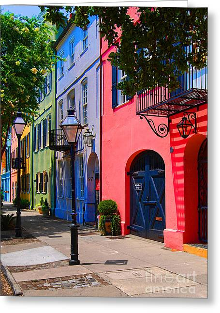 Rainbow Row Greeting Cards - Rainbow Row Charleston Greeting Card by Skip Willits