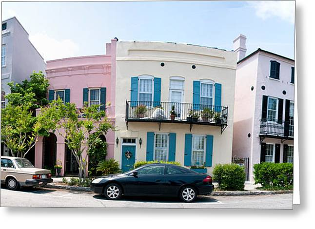 Rainbow Row Greeting Cards - Rainbow Row Colorful Houses Greeting Card by Panoramic Images