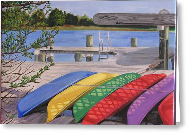 Boats At Dock Greeting Cards - Rainbow Row Greeting Card by Susan Dyson