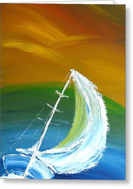 Sailboat Art Greeting Cards - Rainbow sailing Greeting Card by Nikolina Gorisek