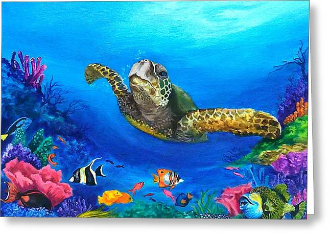 Triggerfish Paintings Greeting Cards - Rainbow Reef Greeting Card by Kathleen Kelly Thompson