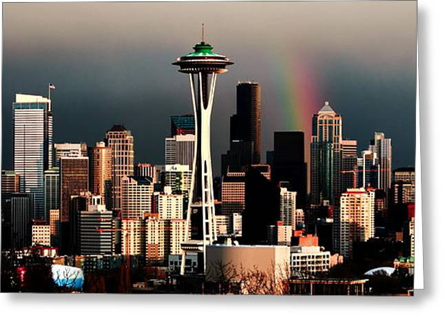 Yeager Greeting Cards - Rainbow Seattle Panorama Greeting Card by Benjamin Yeager