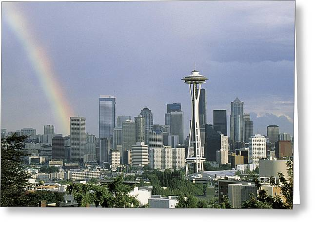 On Location Greeting Cards - Rainbow Seattle Wa Greeting Card by Panoramic Images