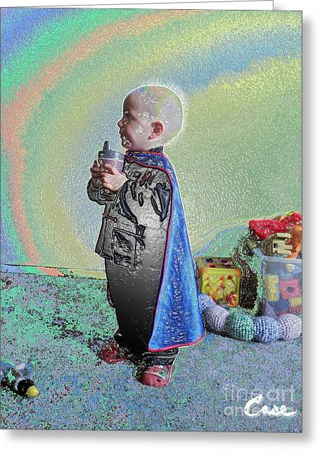 Playfulness Digital Art Greeting Cards - Rainbow Sherbet Little Ninja Boy Greeting Card by Feile Case