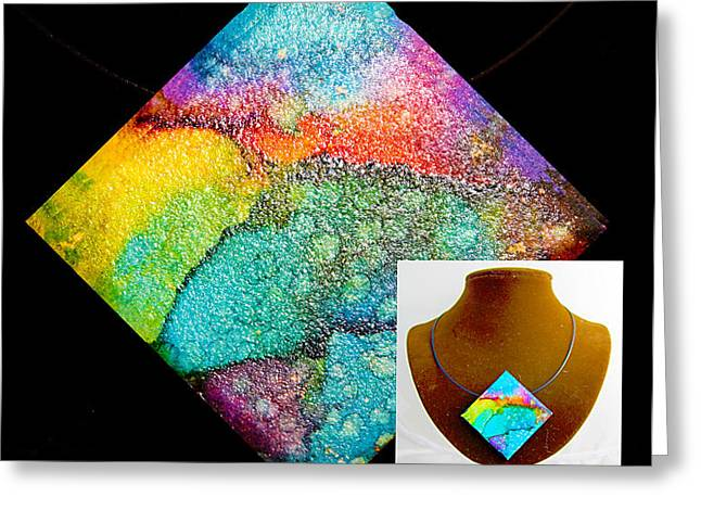 Mountains Jewelry Greeting Cards - Rainbow Sky Necklace Greeting Card by Alene Sirott-Cope