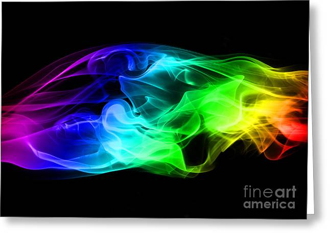 Colorization Greeting Cards - Rainbow Smoke Greeting Card by Jt PhotoDesign
