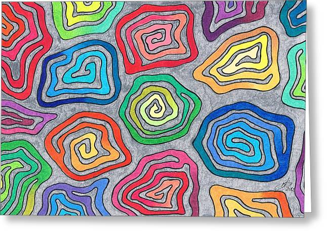 Vivid Colour Drawings Greeting Cards - Rainbow Snails Greeting Card by Andreas Berthold