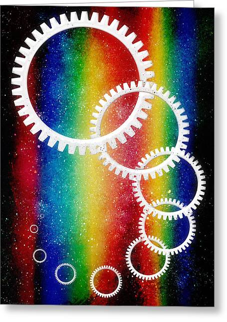 Intergalactic Space Greeting Cards - Rainbow Space Highway Greeting Card by Shawna  Rowe