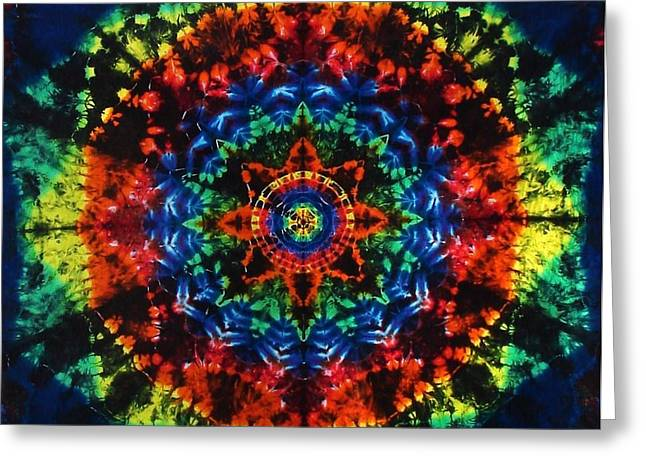 Glass Wall Tapestries - Textiles Greeting Cards - Rainbow Stained Glass Mandala Greeting Card by Moon Dyes