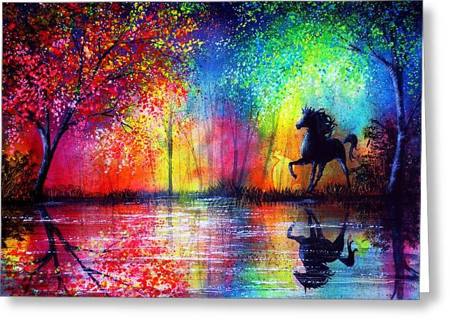 Kinkade Greeting Cards - Rainbow Stallion Greeting Card by Ann Marie Bone