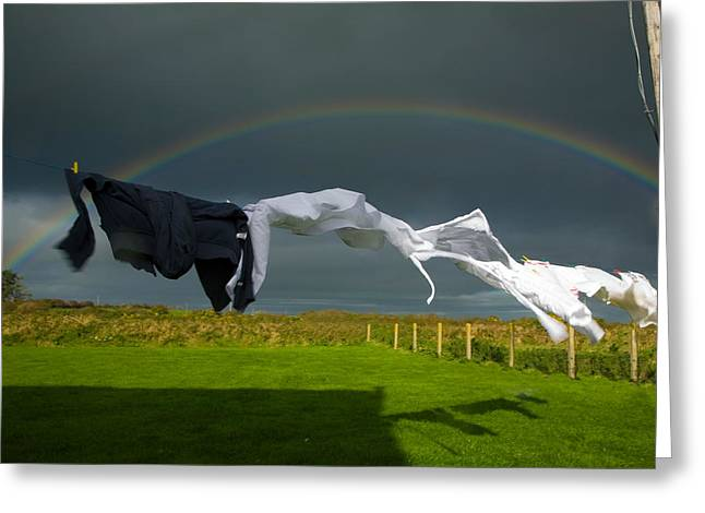 Clothes Line Greeting Cards - Rainbow, Stormy Sky And Clothes Line Greeting Card by Panoramic Images
