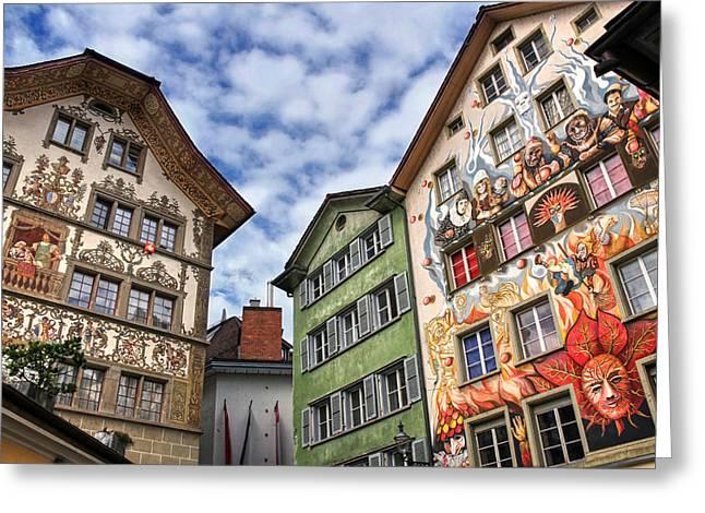 Swiss Photographs Greeting Cards - Rainbow Corner  Lucerne Greeting Card by Carol Japp
