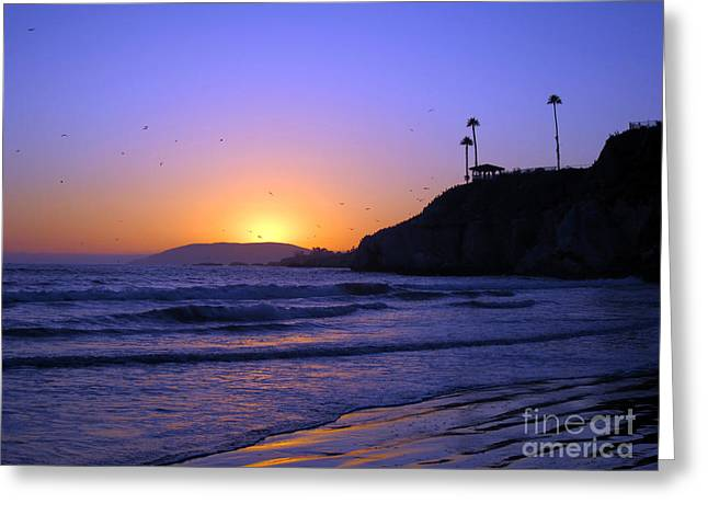California Ocean Photography Greeting Cards - Rainbow Sunset Greeting Card by Debra Thompson