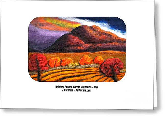 Photo Reliefs Greeting Cards - Rainbow Sunset Sandia Mtns Greeting Card by ArSpirare by Antonius