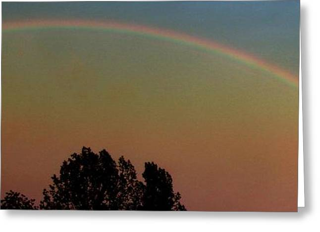 Storm Lovers Art Greeting Cards - Rainbow Sunset Silhouette Greeting Card by Gail Matthews