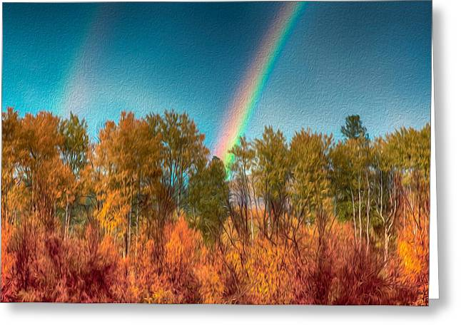 Wolf Creek Greeting Cards - Rainbow Surprise Greeting Card by Omaste Witkowski