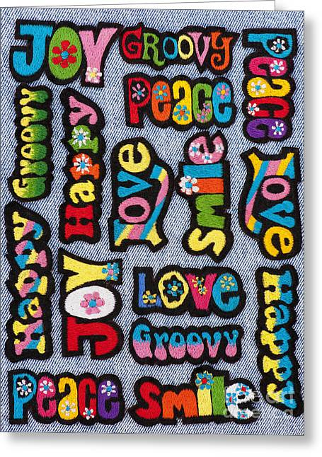 Embroidery Greeting Cards - Rainbow Text Greeting Card by Tim Gainey