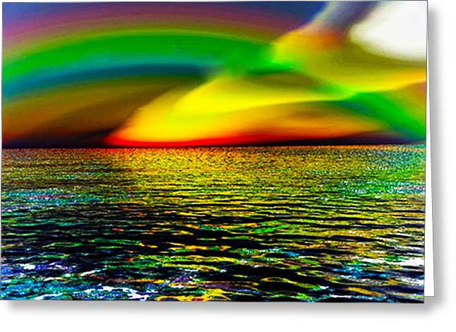 Rainbow Thunder      Enhanced Version Greeting Card by Rebecca Phillips