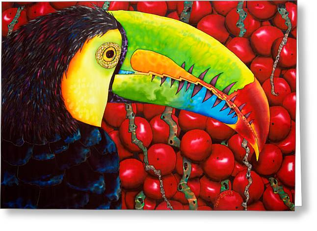 Tropical Wildlife Tapestries - Textiles Greeting Cards - Rainbow Toucan Greeting Card by Daniel Jean-Baptiste