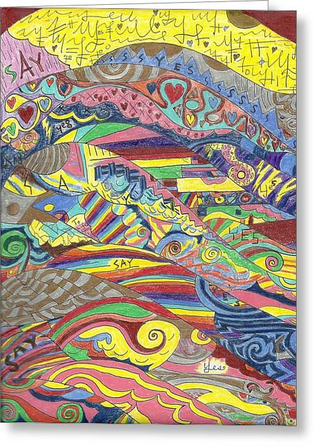 Patterned Abstract Drawings Greeting Cards - Rainbow Trails Greeting Card by Ty DAvila