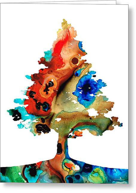 Color Colorful Mixed Media Greeting Cards - Rainbow Tree 2 - Colorful Abstract Tree Landscape Art Greeting Card by Sharon Cummings
