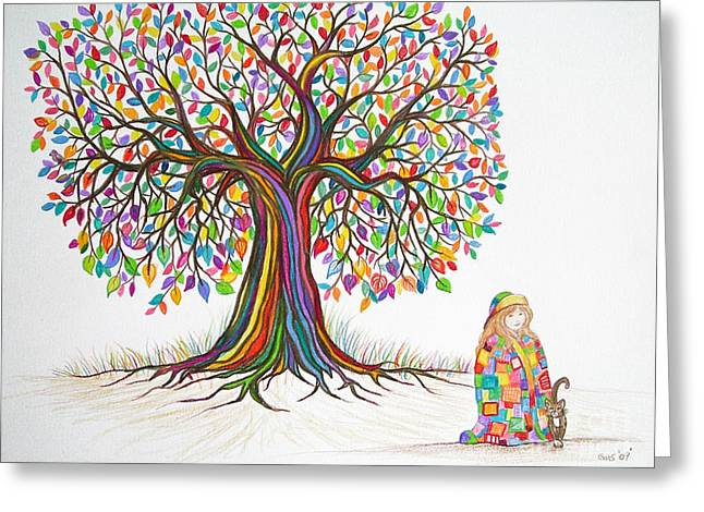 Rainbow Tree Dreams Greeting Card by Nick Gustafson