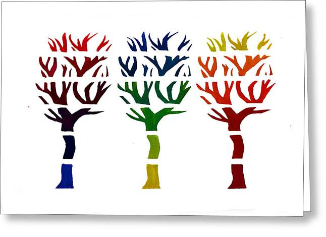 Photoshop Paintings Greeting Cards - Rainbow trees Greeting Card by Amelia Mickelsen