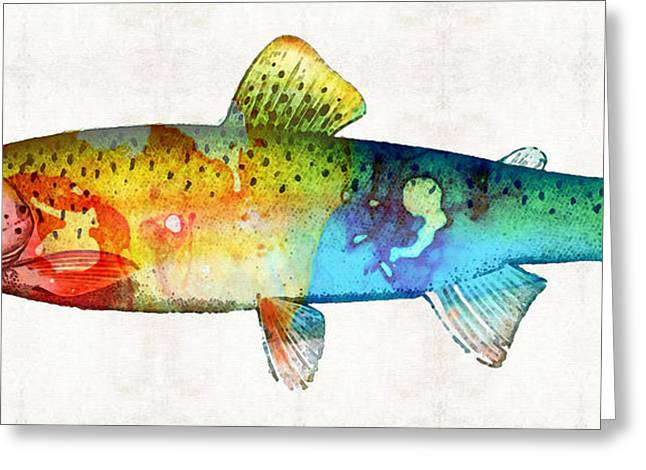 Rustic Cabin Greeting Cards - Rainbow Trout Art by Sharon Cummings Greeting Card by Sharon Cummings
