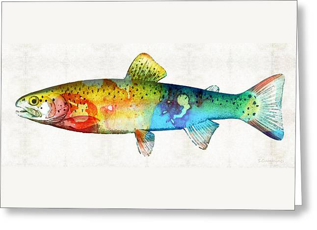 Rainbow Trout Art By Sharon Cummings Greeting Card by Sharon Cummings