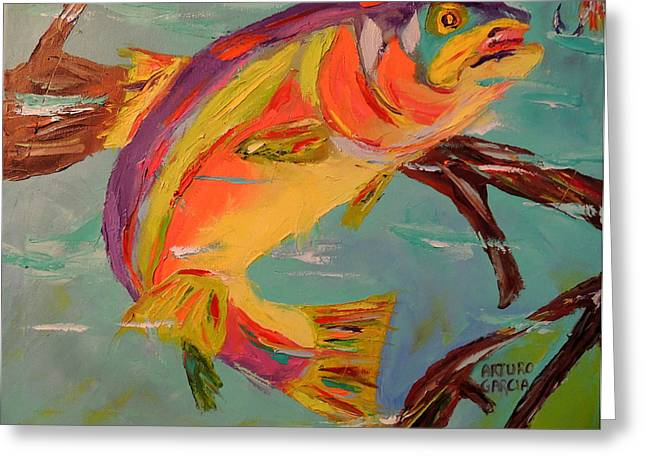Rainbow Trout Greeting Cards - Rainbow Trout Greeting Card by Arturo Garcia