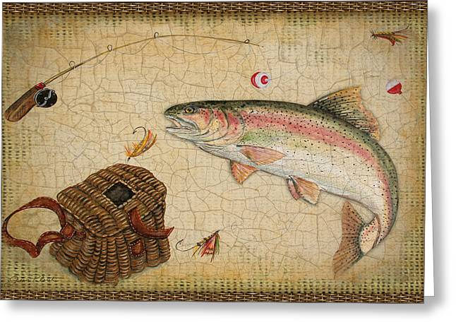 Brown Trout Greeting Cards - Rainbow Trout-Basket Weave Greeting Card by Jean Plout