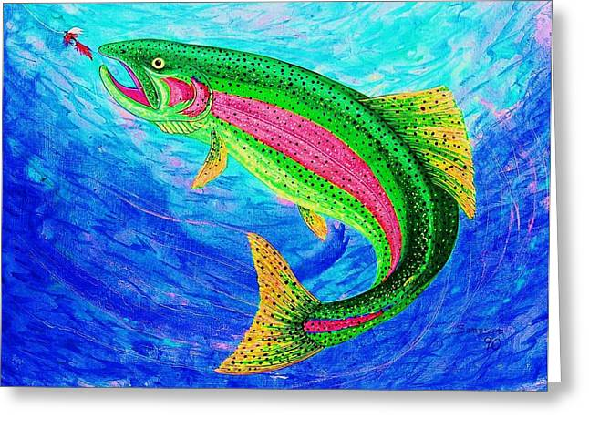 Zebra In Acrylic Greeting Cards - Rainbow Trout Greeting Card by Cynthia Sampson