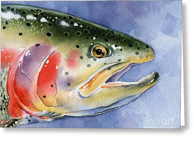 Fly Fishing Art Print Greeting Cards - Rainbow Trout Greeting Card by David Rogers