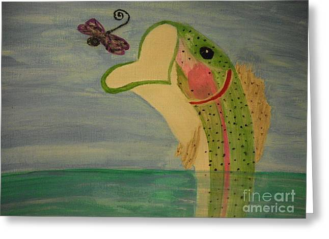 Fishing In Stream Print Greeting Cards - Rainbow Trout Greeting Card by Erica  Darknell