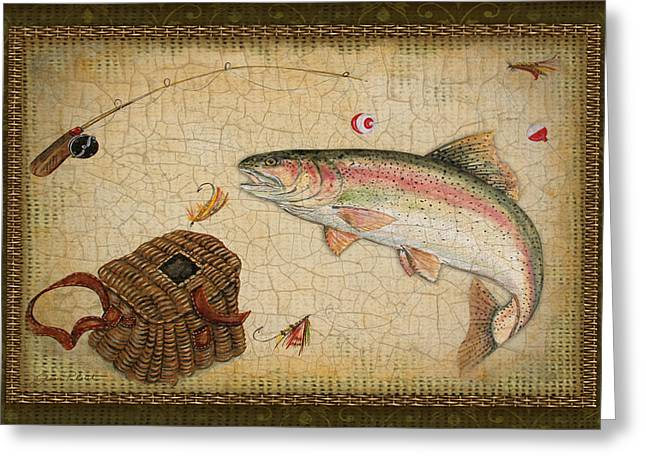 Brown Trout Greeting Cards - Rainbow Trout-Green Damask Greeting Card by Jean Plout
