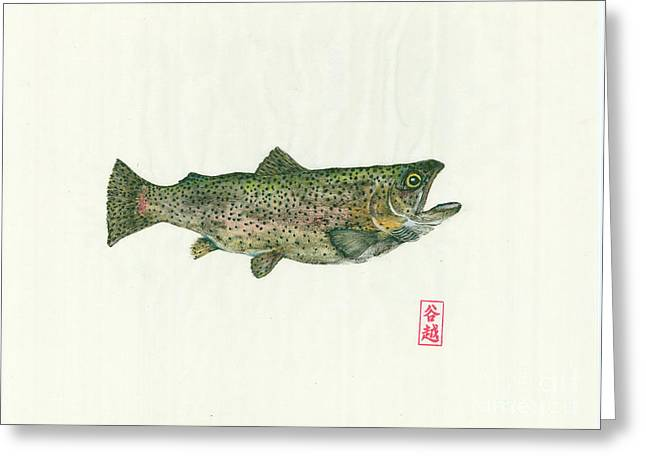 Trout Mixed Media Greeting Cards - Rainbow trout gyotaku Greeting Card by Julia Tinker