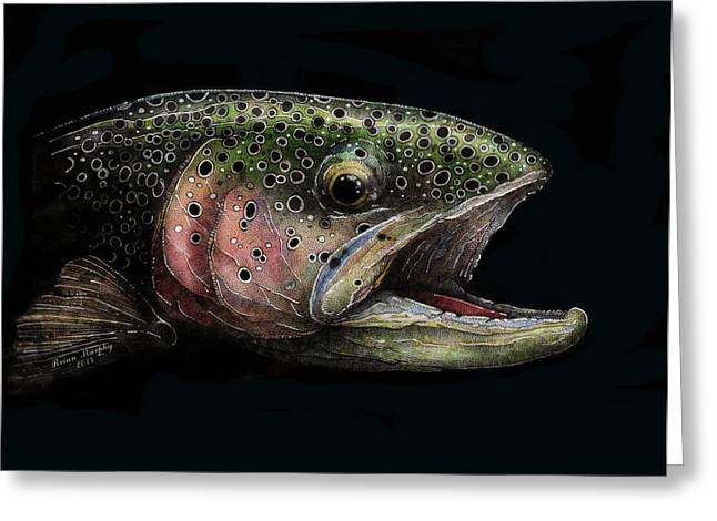Rainbow Trout Greeting Cards - Rainbow Trout Head Shot #1 Greeting Card by Brian Murphy