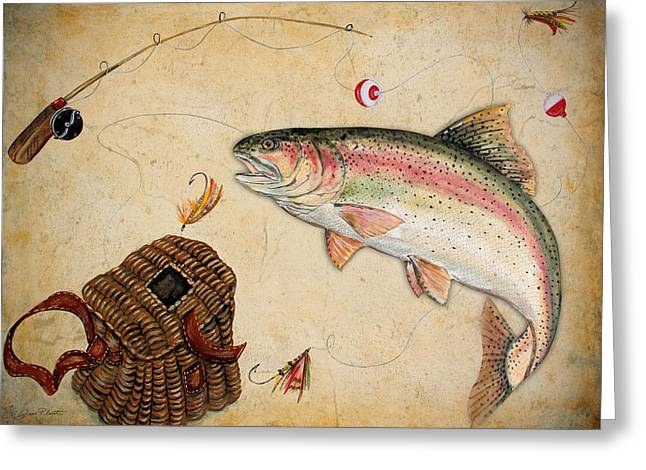 Rainbow Trout Greeting Card by Jean Plout