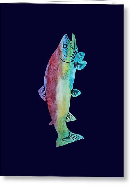 Jenny Mixed Media Greeting Cards - Rainbow Trout Greeting Card by Jenny Armitage