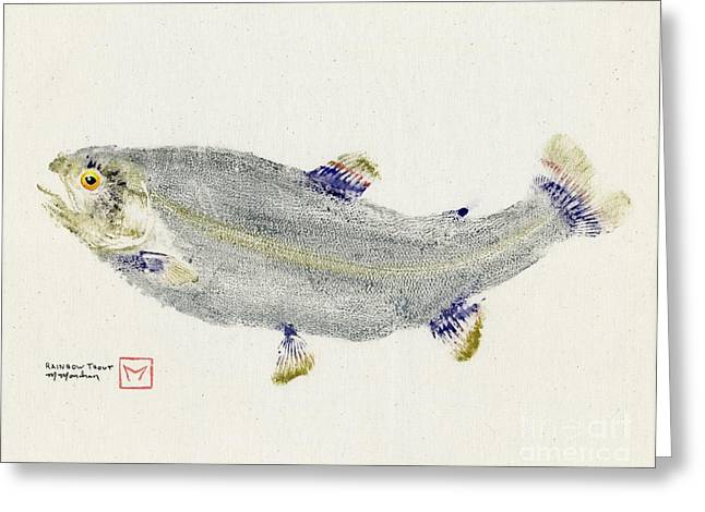 Rainbow Trout Greeting Cards - Rainbow Trout on Muslin Greeting Card by Matt Monahan