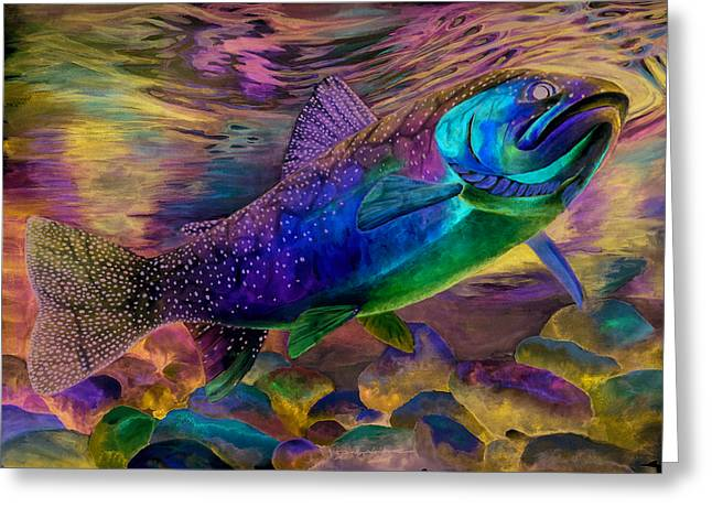 Rainbow Trout Greeting Cards - Rainbow Trout Greeting Card by Sara Alexander Munoz