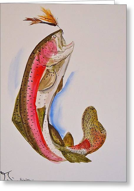 Rainbow Trout Greeting Cards - Rainbow Trout  Greeting Card by Troy Thomas